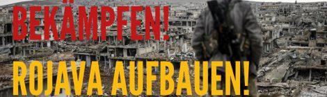 Aufkleber: Fluchtursachen bekämpfen! Rojava aufbauen!